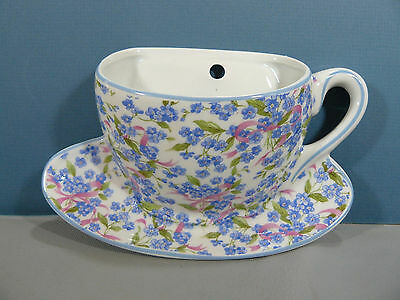 Tenderheart Treasures TEA CUP WALL POCKET FORGET ME NOT CHINTZ design NEW