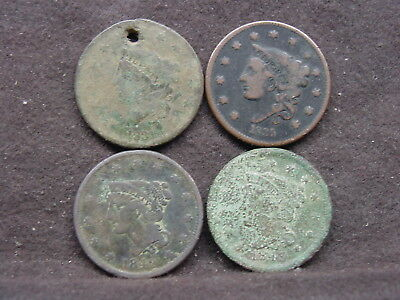 four vintage large cents readable dates.