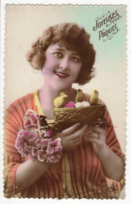 VINTAGE FRENCH DECO RP POSTCARD,GLAMOUROUS WOMAN,EASTER,CHICKS,NEST, c1920s