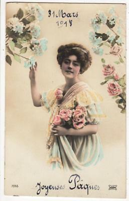 Vintage French Ww1 Rp Postcard,glamourous Woman,easter,flowers,1918