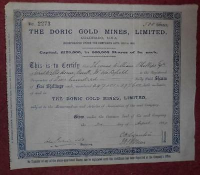 31428 USA-Colorado 1898 Doric Gold Mines 500 shares certificate