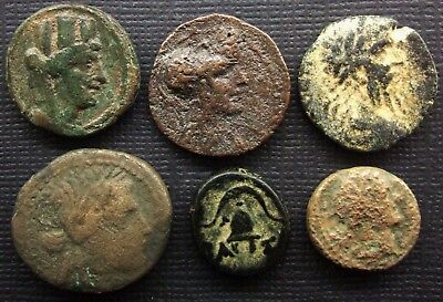 Ancient Greek Coins or Roman Republican Lot of 4 AE coins