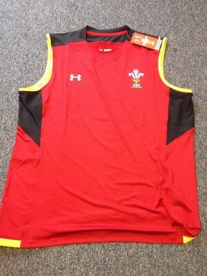 Wales Rugby WRU Players Sleeveless Training Top 2XL RRP £24.99 Under Armour