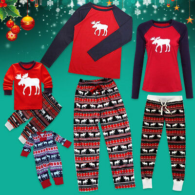 Family Matching Christmas Pajamas Set Sleepwear Baby Kids Boys Girls Nightwear