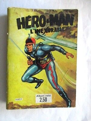 "B.d.album Rare !!! N° 1 "" Hero Man L'inexorable "" Du N°1 Au 3 Complet 1970"