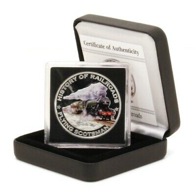 Liberia History of Railroads Flying Scotsman $5 2011 Colored Proof Silver Coin B