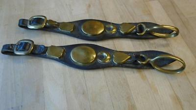 Driving Harness Terret Loops On Straps, Antique.