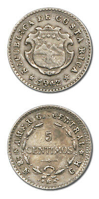 Costa Rica 5 Centimos Overstruck on 2c 1942  XF KM 178