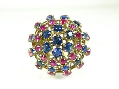 Antique Victorian 14k Yellow Gold Blue Sapphire & Ruby Ballerina Ring 7.5g