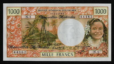 NEW HEBRIDES (P20c) 1000 Francs ND(1979) aUNC+