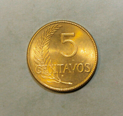 Peru 5 Centavos 1943 Uncirculated Coin - Date Written Out in Spanish