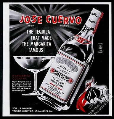1962 Jose Cuervo Tequila margarita recipe and glass art vintage print ad