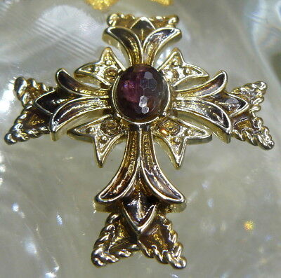 Monet Designer Signed Purple Faceted Glass Rhinestone Enamel Cross Pin Brooch!