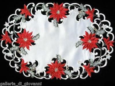 "Christmas Red Poinsettia Lace Placemat Doily Dresser Scarf  17"" x 11"""