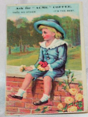 Vintage Antique Victorian Trade Card Advertising Acme Coffee Blue Boy on Fence