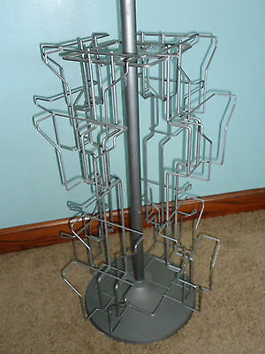 """Metal Post Card Holder Store Business Display Case Silver Rack Spin 28"""" Tall"""
