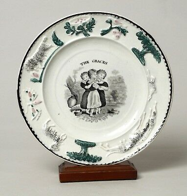 Wonderful Antique Staffordshire Pearlware Nursery Childs Plate 'the Graces'