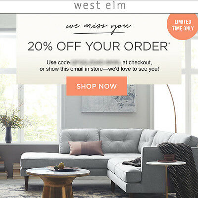 20% off WEST ELM entire purchase promo code FAST in stores/online Exp 10/28 15