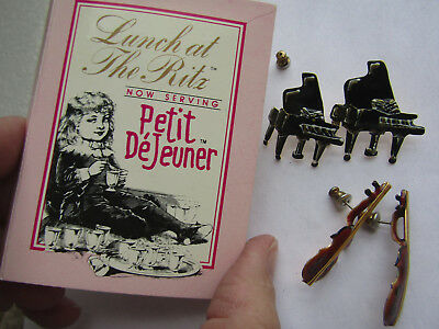 Lunch at the Ritz Petite DeJeuner Music Lessons Earrings, 2 pr, pianos, violins