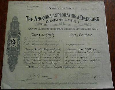 31451  GOLD COAST 1910 Ancobra Exploration & Dredging 50 shares cert. Cap.£100k