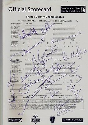 Warwickshire v Sussex County Championship Match 2005 Multi Signed