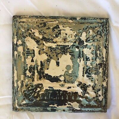 "11"" x 11 Antique Tin Ceiling Tile Wrapped Frame Anniversary Verdigris 520-17"