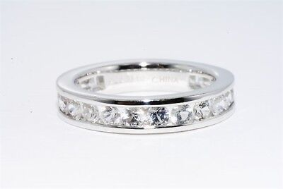 2.00Ct Natural Round Cut White Topaz Eternity Band Size 8.5