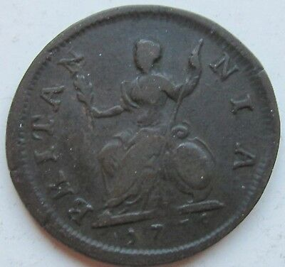 Great Britain, England, 1735 Copper Farthing 1/4d George II