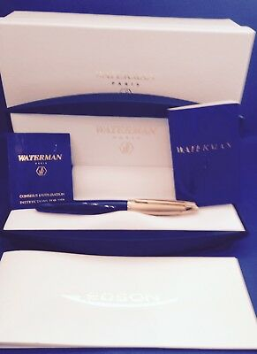 WATERMAN EDSON SAPPHIRE BLUE FOUNTAIN PEN MEDIUM PT  NEW IN BOX ITEM No11001-W3