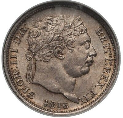England George Iii 1816 1 Shilling Silver Coin, Uncirculated Certified Ngc Ms65
