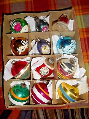 Vintage Box of 12 Premier Glass Christmas Ornaments - Indents, Mica,  Stencils