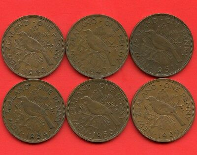 New Zealand 1943 1947 1951 1954 1956 & 1960 1 Penny Coins