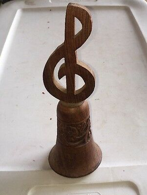 Vintage Hand Carved Wood Bell Treble Cleft