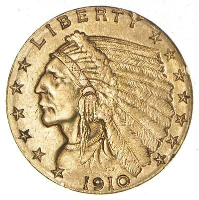 $2.50 United States 90% US Gold Coin - 1910 Indian - No Reserve *788