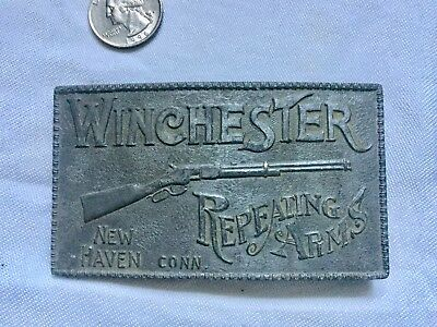 VINTAGE WINCHESTER REPEATING ARMS BELT BUCKLE  Pewter Belt Buckle