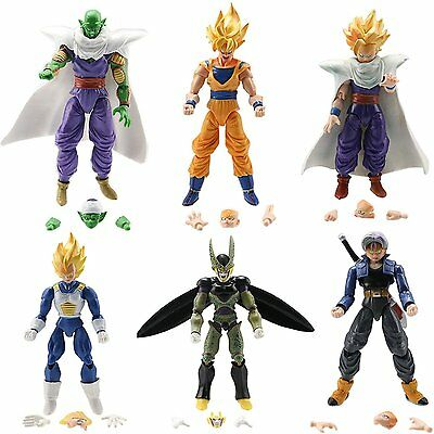 "6 x Dragon Ball Z 5"" Figures: Piccolo Cell Trunks Super Saiyan Goku Gohan Vegeta"