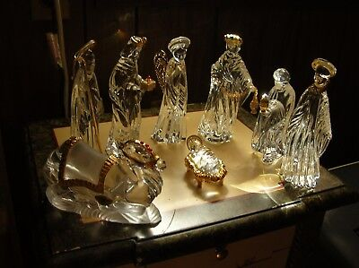Crystal Christmas Nativity Scene By Gorham Germany 8 Pieces