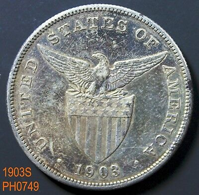 PHILIPPINES Peso 1903-S circulated with some dark toning
