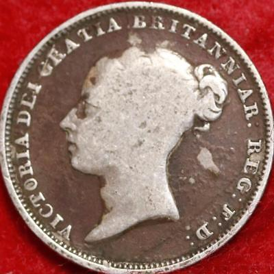 1839 Great Britain 6 Pence Silver Foreign Coin Free S/H