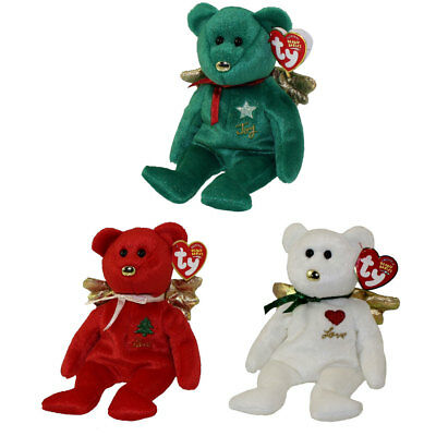 TY Beanie Babies - SET OF 3 GIFT BEARS (Red, White & Green)(Hallmark Gold Crown)