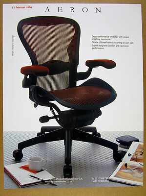 1998 Herman Miller AERON Chair color photo vintage print Ad