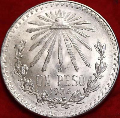 Uncirculated 1934 Mexico Peso Silver Foreign Coin Free S/H