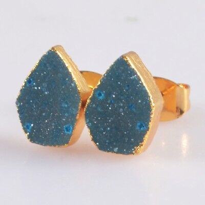 10x7mm Blue Agate Druzy Geode Stud Earrings Gold Plated H103657
