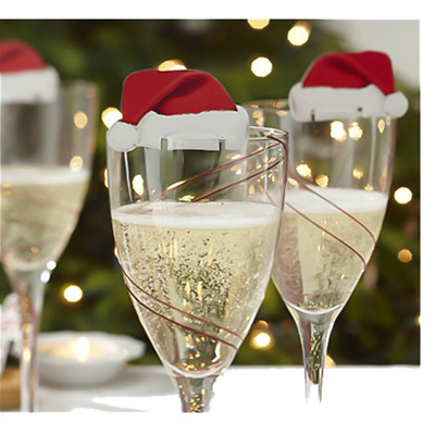 Hot Christmas Hats Champagne Wine Glass Caps Christmas Party Decorations 10pcs