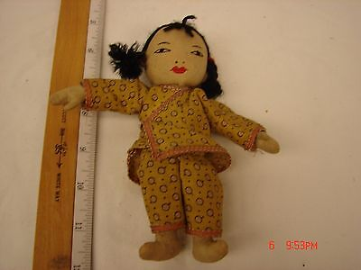 Vintage 6 Inch Cloth Doll Asian Style Girl Chinese Stitched Face Clothing