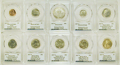 2017 S Enhanced**(First Day) 225Th Anniversary Enhanced Unc Pcgs Sp70 Set
