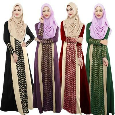 Women Kaftan Abaya Islamic Muslim Vintage Cocktail Long Sleeve Jilbab Maxi Dress