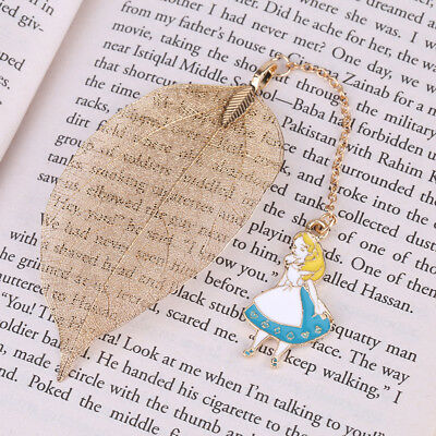 Gold Metal Leaf Bookmark+Alice Pendant Book Marker Stationery Supplie Kids Gift