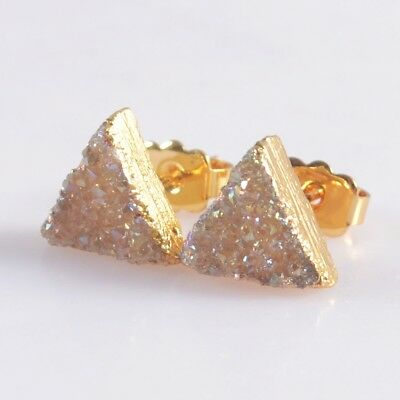 9mm Triangle Natural Agate Titanium Druzy Stud Earrings Gold Plated H103702