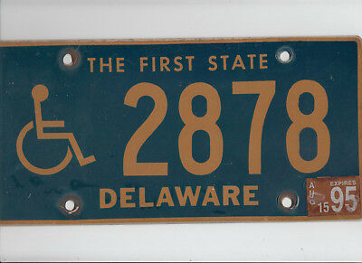 "DELAWARE 1995 license plate ""2878"" ***HANDICAPPED/DISABLED***"
